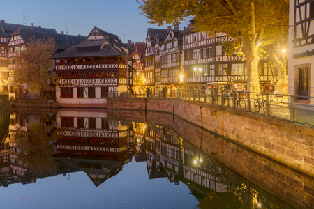 petit: Petit France medieval district of Strasbourg at night, Alsace France