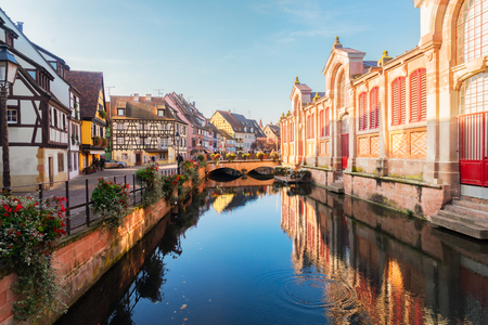 canal of Colmar, beautiful town of Alsace, France Stock Photo