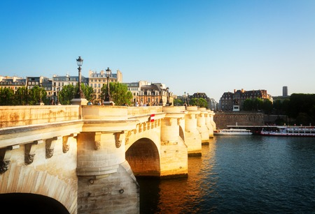 Pont Neuf and Seine at sunny summer day, Paris, France, retro toned Stock Photo