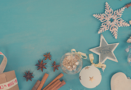 Blue and white christmas - styled christmas boder flat lay style with copy space, retro toned