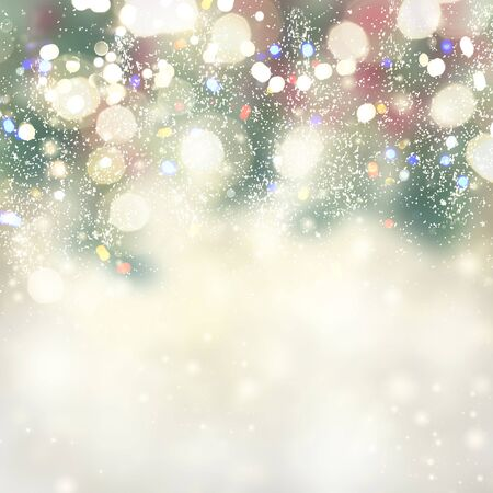 chrismas festive silver background with defocused holly and bright sparkles Stock Photo