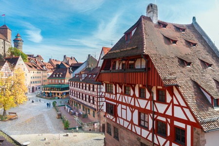 Old town of Nuremberg at sunny fall day, Germany Imagens