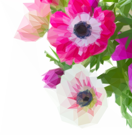 Low poly illustration bunch of pink anemone flowers close up isolated on white background Illustration