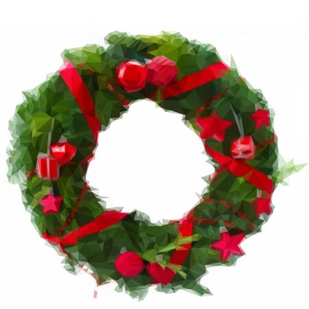 pine wreaths: Low poly illustration green christmas wreath with red decorations on white background