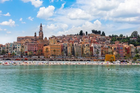 colorful houses of Menton old town hill waterfront, France Stock Photo