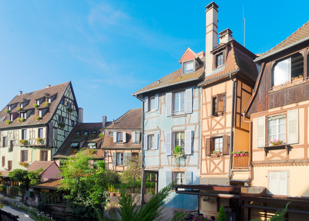 half timbered crooked houses of Colmar, Alsace, France