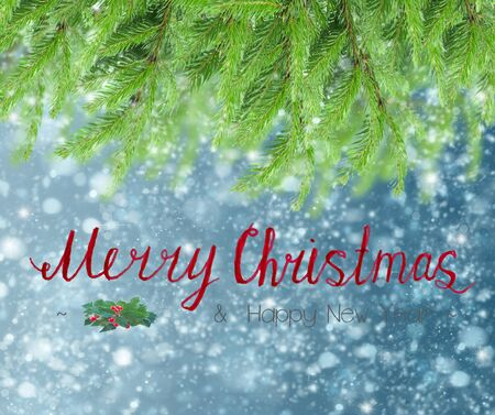 christmas background with fir tree and snow with merry chritmas greetings