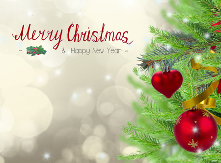 chritmas: christmas frame background with decorated fir tree on gray sparkling background and merry chritmas greetings