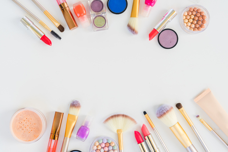 Colorful make up flat lay scene with copy space Archivio Fotografico