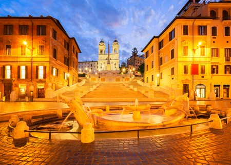 spanish steps: Spanish Steps with boat fountain illuminated at blue night, Rome, Italy