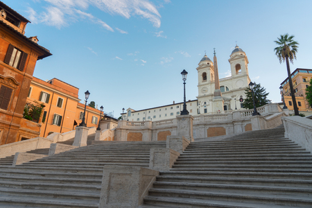 spanish steps: famous Spanish Steps with basilica, Rome, Italy