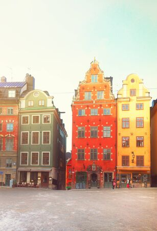 stan: view of Gamla Stan old square, Stockholm, Sweden, retro toned