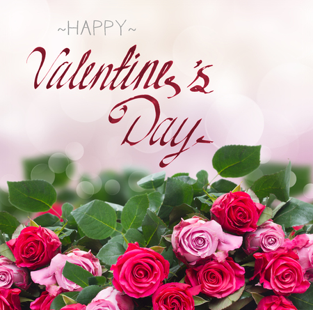 border of pink rose flowers on pink bokeh background with happy valentines day greetings Stock Photo