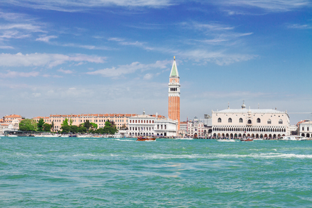 famous San Marco square embankmont and lagoon waterfront at sunny day, Venice, Italy