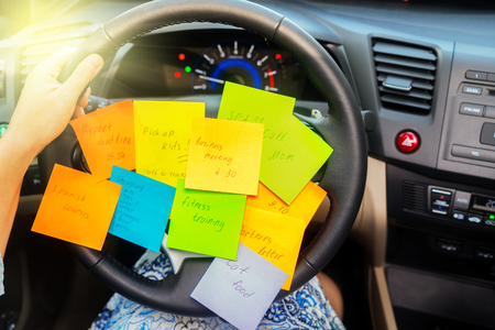 To do list in a car - busy day concept