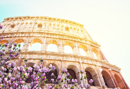 ruins of Colosseum, close up details of facade with sunshine at spring day, Rome Italy