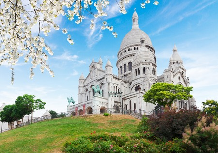 view of world famous Sacre Coeur church at spring, Paris, France