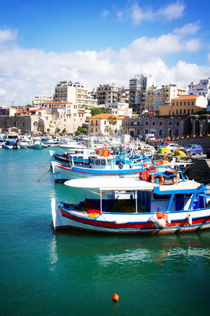Heraklion old port with colorful boats, at sunny day, Crete, Greece, retro toned Stock Photo