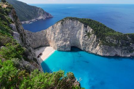 Navagio beach, famous lanscape of Zakinthos island, Greece