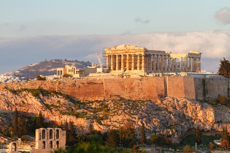 Famous skyline of Athens with Acropolis hill and Pathenon, Athens Greece Stok Fotoğraf