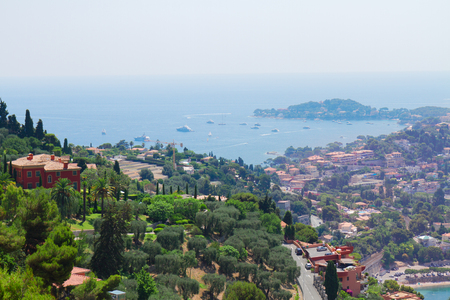 villefranche sur mer: landscape of coast and turquiose water of cote dAzur, french Riviera, France Stock Photo