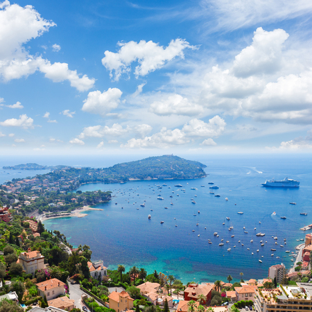 villefranche sur mer: landscape of riviera coast and turquiose water of Mediterranean sea, cote dAzur at sunny summer day, French RIviera, France Stock Photo
