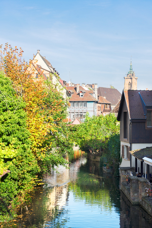 the little venice: small rural canal of Colmar, Alsace, France Stock Photo