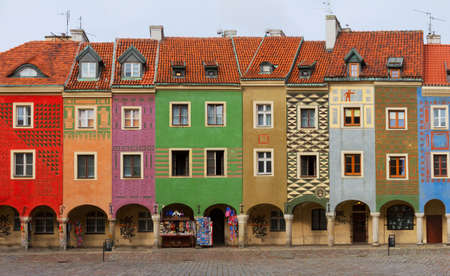 view of crooked medieval houses on the central market square in Poznan, PolandPoznan, Poland Stock Photo