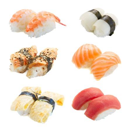Set of japanese sushi pairs isolated on white background Stock Photo