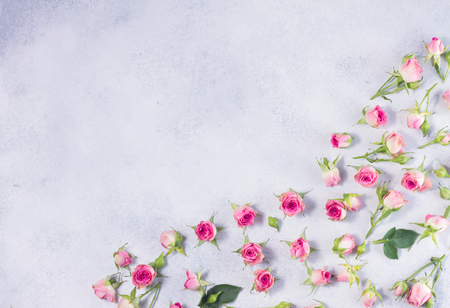 Pink flowers pattern with copy space on gray background