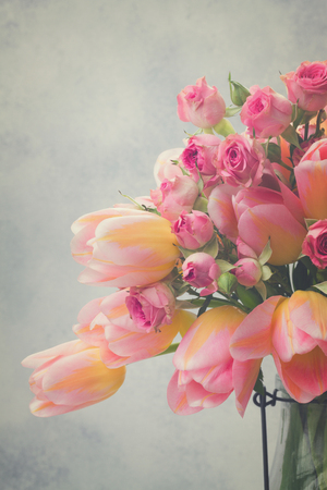 fresh pink and yellow tulips and roses close up on gray background, retro toned