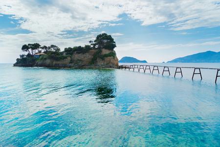 Agios Sostis island with bidge, Beautiful landscape of Zakinthos island, Greece Stock Photo