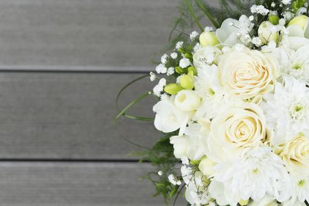 White fresh roses freesia and mum flowers wedding bouquet on stock photo white fresh roses freesia and mum flowers wedding bouquet on wooden background close up mightylinksfo
