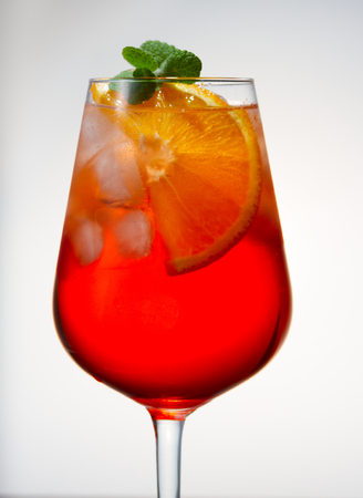 spritz: Glass of spritz coctail long drink close up Stock Photo