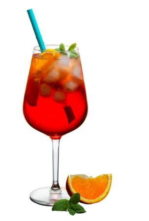 Glass of spritz long drink coctail isolated on white background Stock Photo