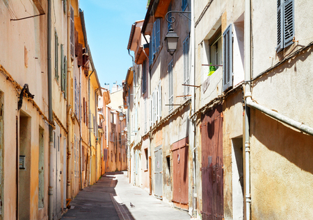 beautiful old town street of Aix en Provence, France, retro toned Stock Photo