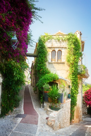 mediterranean culture: beautiful old town street of Provence with summer flowers, France, retro toned