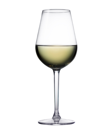 High glass with still white wine isolated on white background