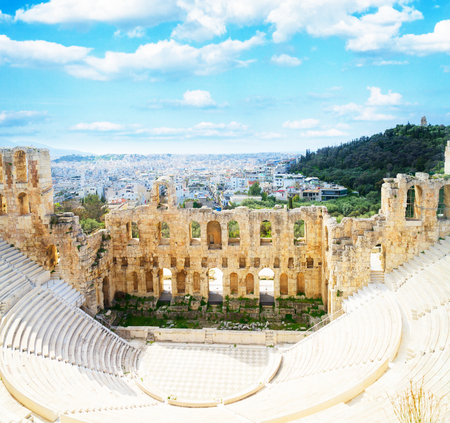 cup of Herodes Atticus amphitheater of Acropolis, Athens, Greece, retro toned Banco de Imagens