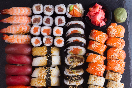 Japanese sushi big set pattern, top view Stock Photo