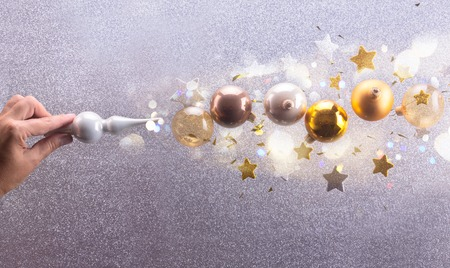Christmas spell - Silver and golden christmas bubbles and stars