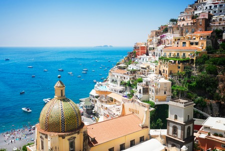 view of Positano - famous old italian resort, Italy, retro toned Stock Photo