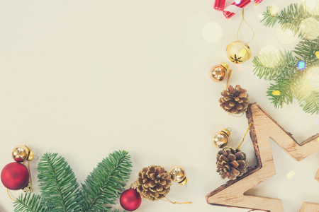 Christmas flat lay styled scene with evergreen tree twigs and copy space, retro toned Stock Photo