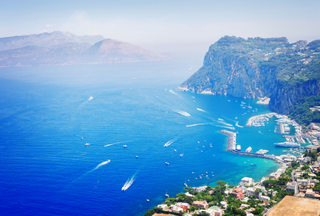 Marina Grande habour from above, Capri island, Italy, retro toned Stock Photo