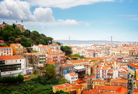 Skyline of Lisbon with Saint Georges Castle and bridge of 25th April, Portugal, retro toned
