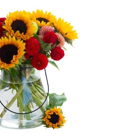 Dahlia and sunflowers isolated on white background Stock Photo
