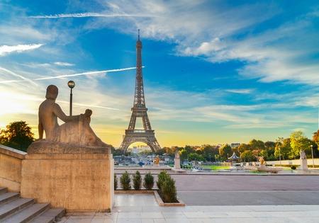 Eiffel Tower from Trocadero garden at sunrise, Paris, France