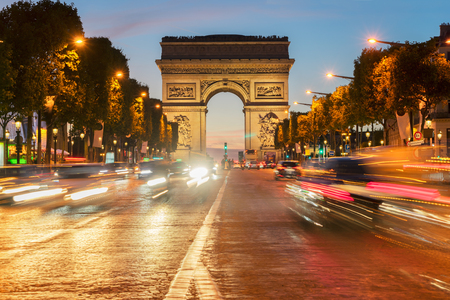 central european: Arc de Triomphe at night, Paris, France