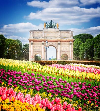 Arc De Triomphe Du Carrousel In Tuileries Garden At Sunny Spring Day,  Paris, France