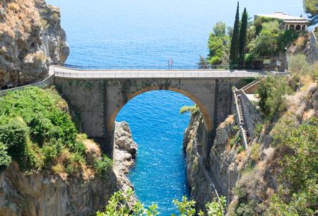 famous picturesque coastal road viaduct over sea of Amalfi coast, Italy Stock Photo